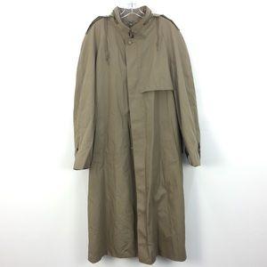 London Fog Khaki Trench Raincoat With Hood & Wool Liner